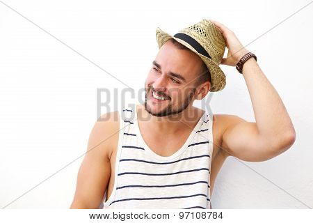 Happy Young Man With Beard Smiling With Hat