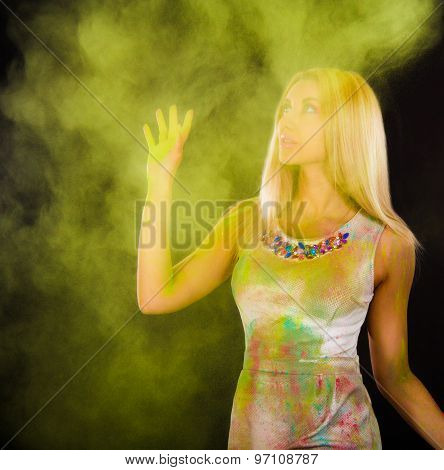 Beautiful Young Woman Covered With Colored Powder