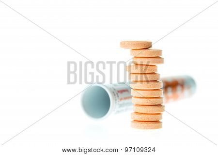 Orange Lozenges Isolated On White
