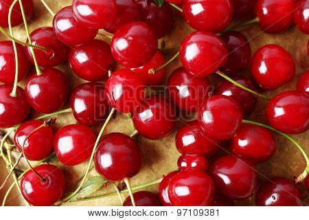 Cherries on tray, close-up
