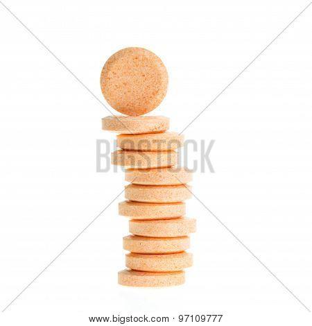 Orange Lozenges Isolated On White