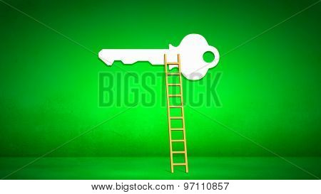 Conceptual image with ladder leading to key of success