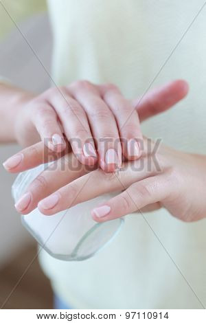 Body care. Woman with cream
