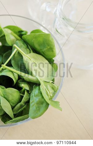 Food, healthy. Bowl full of spinach