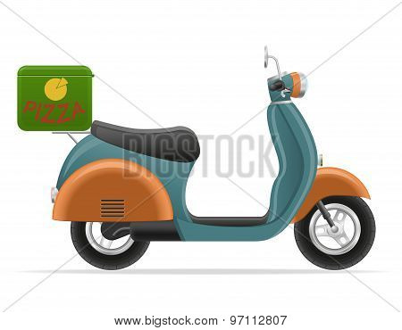 Retro Scooter For Pizza Delivery Vector Illustration