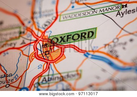 Oxford City On A Road Map