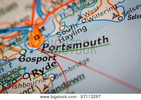 Portsmouth City On A Road Map