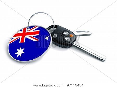 Car Keys With Australia Flag As Keyring.