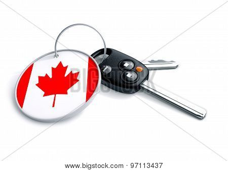 Car Keys With Canada Flag As Keyring.
