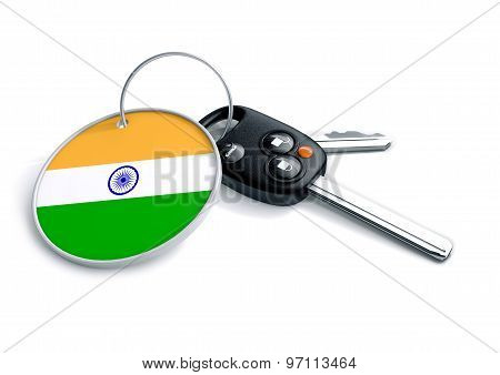 Car Keys With India Flag As Keyring.