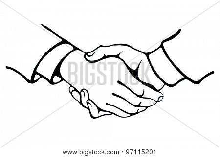 Realistic Handshake Sign. Concept for business and finance. Black on white.