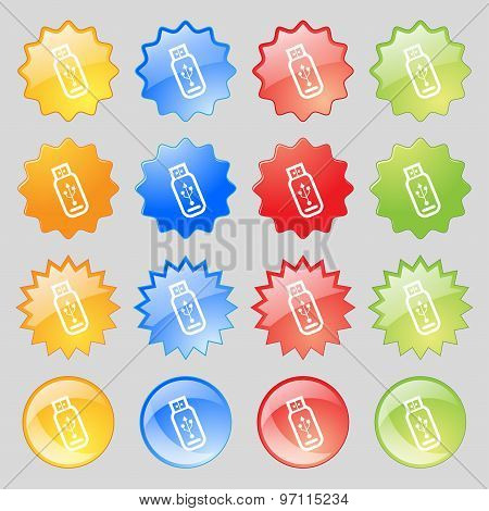 Usb Flash Drive Icon Sign. Big Set Of 16 Colorful Modern Buttons For Your Design. Vector