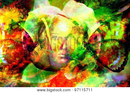 Mystic Face Women With Butterflies, Color Background Collage. Eye Contact.