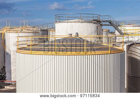 The Top Of Big Tanks Farm For Refinery Industry.