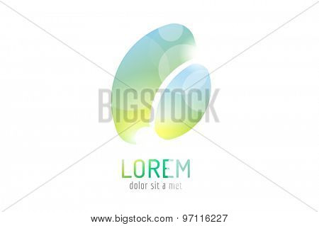 Vector logo template. Abstract arrow shape and symbol, icon or creative, idea, flow. Stock illustration. Isolated on white background