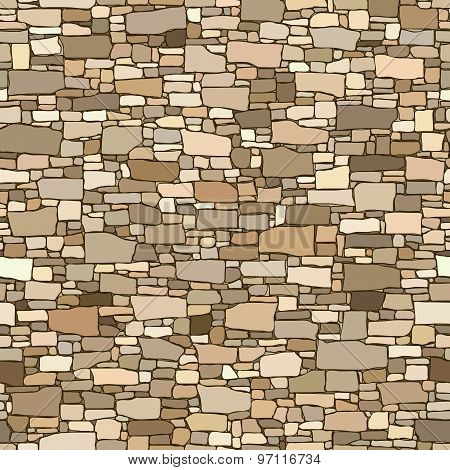 Seamless Colored Background Wall From Stones Of Various Sizes.
