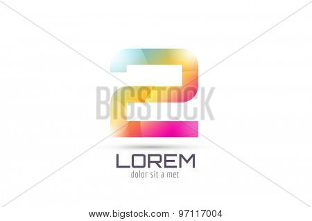 Vector 2 logo template. Abstract arrow shape and symbol, icon, text or creative, idea, flow. Stock illustration. Isolated on white background.