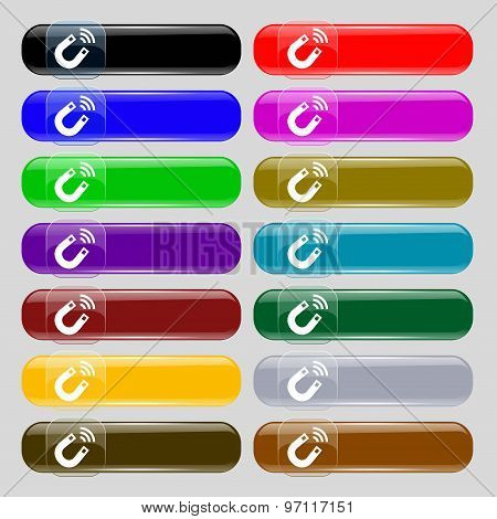 Magnet Icon Sign. Set From Fourteen Multi-colored Glass Buttons With Place For Text. Vector