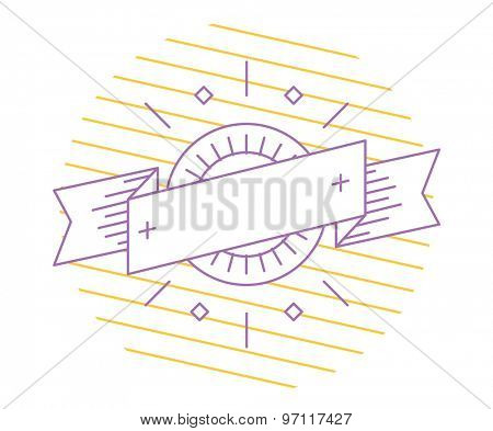 Vector linear logo template. Abstract arrow shape and symbol, icon or frame, border, line. Stock illustration. Isolated on white background