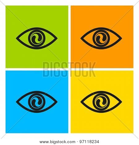 Eyes on a colored background. Template for design. The character set in the pop art style.