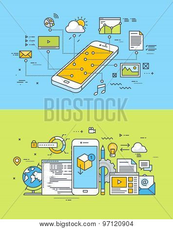 Set of thin line flat design concepts of mobile site and app design and development