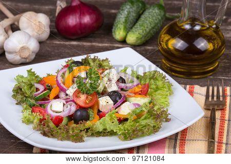 Fresh Vegetable Colorful Greek Salad In Pate,