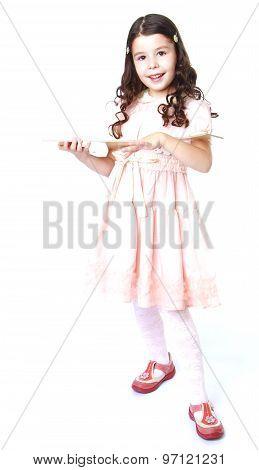 girl holding a balalaika