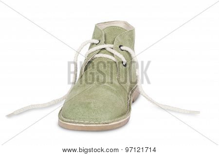 green suede shoe