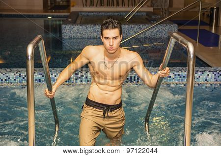 Young Man Relaxing in Spa Whirlpool