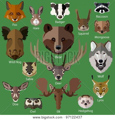 Set of forest animals faces isolated icons.