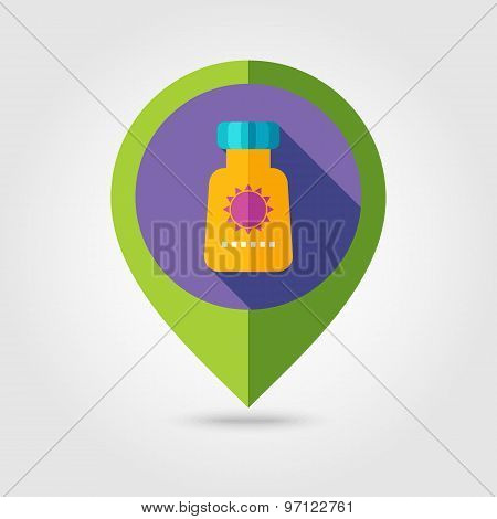 Sunscreen Flat Mapping Pin Icon With Long Shadow