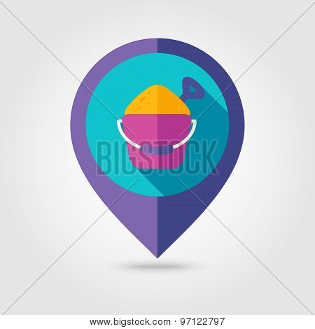 Sand Bucket And Shovel Flat Mapping Pin Icon
