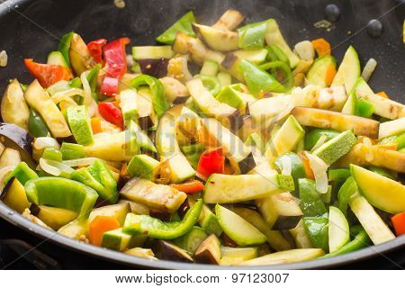 Cooking Different Veggies In Frying Pan