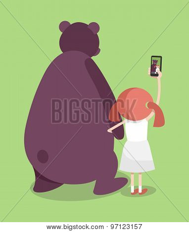 Selfie Girl With Bear