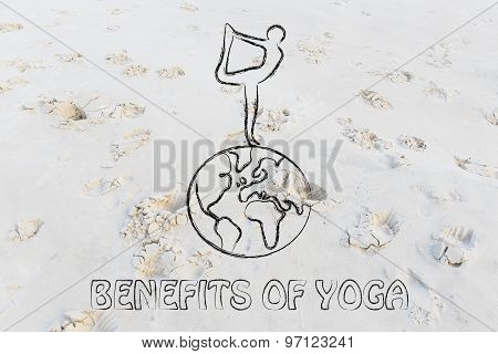 Yoga Wellness: Person In Dancer's Pose Above The World