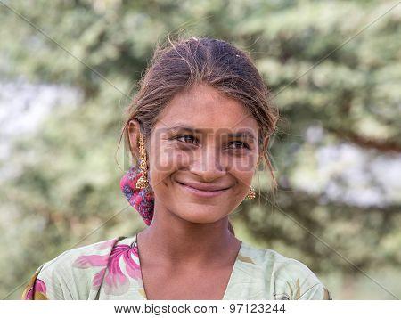 Beggar Indian Girl In Pushkar, India