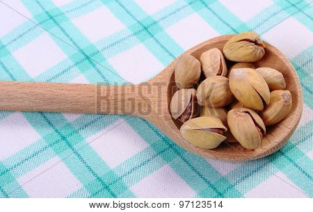Pistachio Nuts With Spoon On Checkered Tablecloth, Healthy Eating