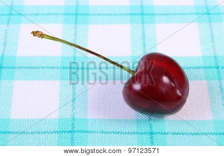 Fresh Cherry On Checkered Tablecloth, Healthy Food