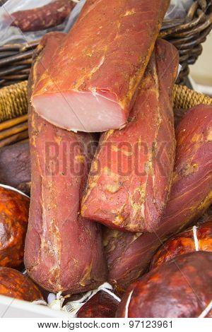 Freshly Smoked Ham In Basket