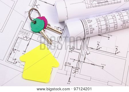 House Of Yellow Paper, Home Keys, Rolls Of Diagrams On Construction Drawing