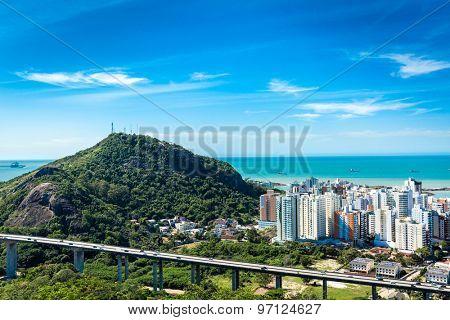 Panoramic view of Vila Velha in Vitoria, Espirito Santo, Brazil
