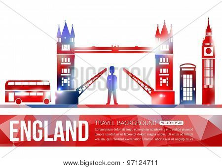 England travel background with place for text. Isolated Great Britain shining symbols for your desig