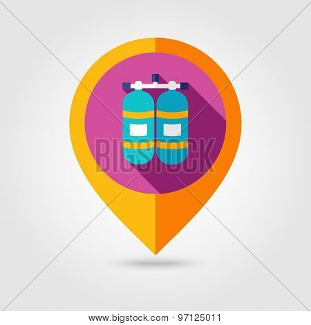 Oxygen Tank Flat Mapping Pin Icon With Long Shadow