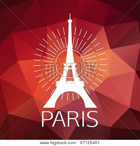 The Eiffel Tower label or logo over geometric background. Paris symbol for your design.