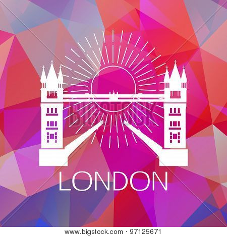 The Tower bridge label or logo over geometric background. Great Britain symbol for your design.