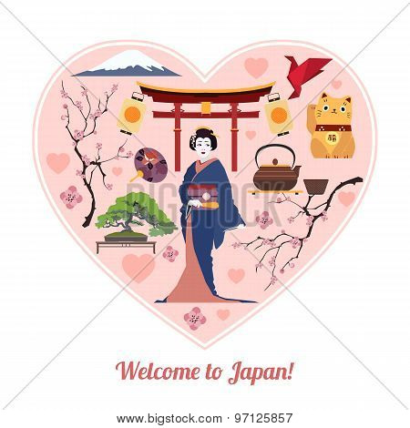 Welcome to Japan. Japan travel background with place for text. Isolated heart shape with Japan flat