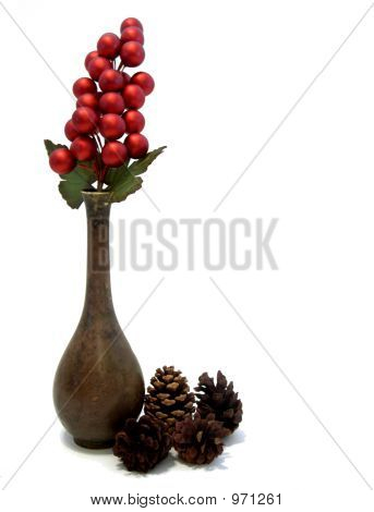 Winter Still Life; Bronzed Base, Berries And Pinecones