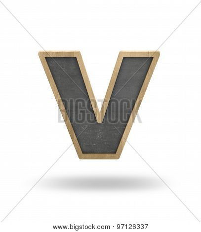 Black blank letter v shape blackboard