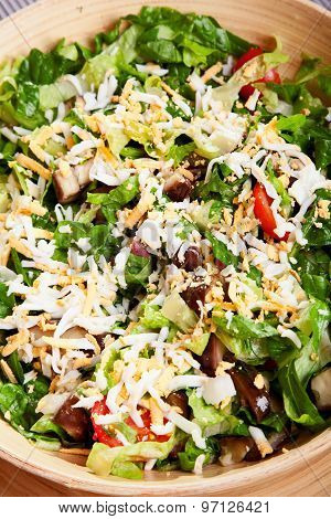 Fresh Green Salad With Cheddar And Cherry Tomatoes