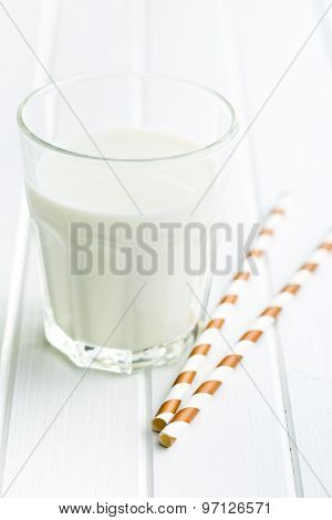 glass of milk and straw